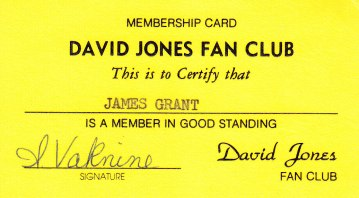 Fan Club Card late 70s